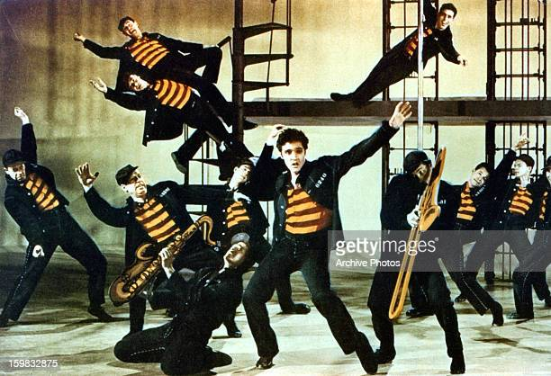 Elvis Presley and others dance in a scene from the film 'Jailhouse Rock' 1957