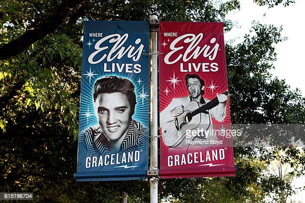 Elvis Presley banners hangs outside Graceland in Memphis Tennessee on October 3 2016
