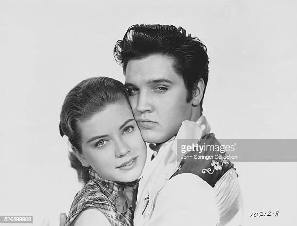 Elvis Presley cheek to cheek with Delores Hart Publicity handout for Loving You Copyright 1957 by Paramount Pictures Corp Hal B Wallis and Joseph H...