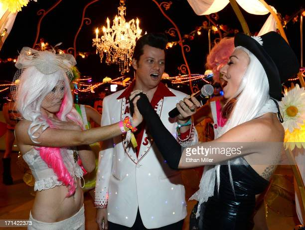 Elvis Presley impersonator Brian Mills performs a commitment ceremony for Jessica O'Donnell and Adele Vannini at the 17th annual Electric Daisy...
