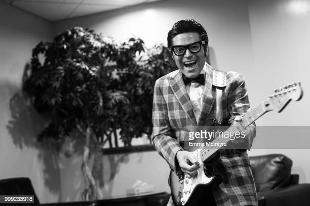 Elvis Presley impersonator Dean Z dressed as Buddy Holly attends the Las Vegas Elvis Festival at Sam's Town Hotel & Gambling Hall on July 14, 2018 in...
