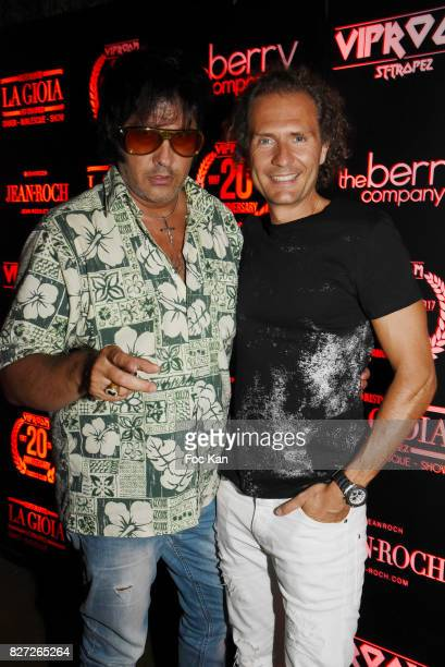 Elvis Presley impersonator Eryl Prayer and PR Nicolas Mereau attend the DJ Smash Party at VIP Room as part of SaintTropez Party On French Riviera on...