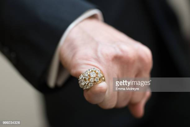 Elvis Presley impersonator jewelry detail Diogo Light attends the Las Vegas Elvis Festival at Sam's Town Hotel Gambling Hall on July 14 2018 in Las...