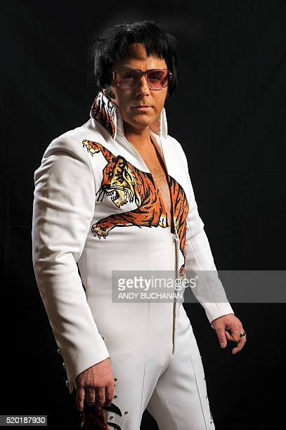 Elvis Presley impersonator Johnny Lee Memphis from Scotland poses backstage before performing at the first Scottish Elvis Festival on April 9 2016 in...