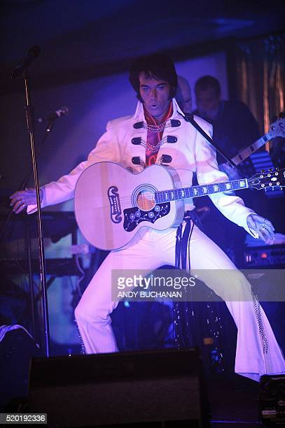 Elvis Presley impersonator Pete Storm from England performs at the first Scottish Elvis Festival on April 9 2016 in Grangemouth The festival features...
