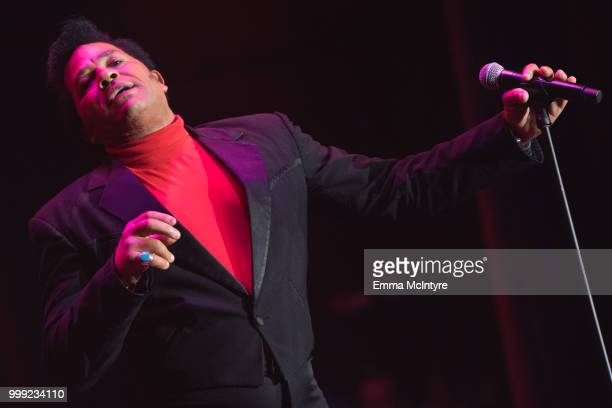 Elvis Presley impersonator Robert Washington performs onstage as James Brown at the Las Vegas Elvis Festival at Sam's Town Hotel Gambling Hall on...