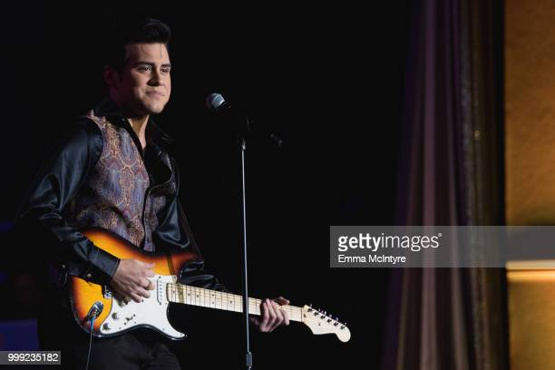 Elvis Presley impersonator Taylor Rodriguez performs onstage at the Las Vegas Elvis Festival at Sam's Town Hotel Gambling Hall on July 14 2018 in Las...