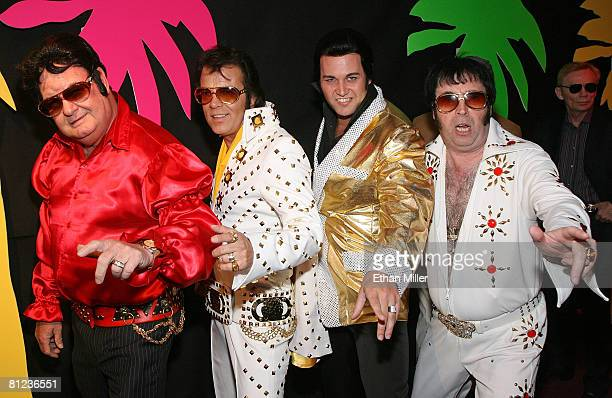 Elvis Presley impersonators arrive at the 17th annual Reel Awards at the Imperial Palace Hotel and Casino May 25 2008 in Las Vegas Nevada The show...