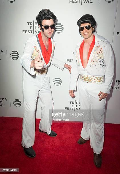 Elvis Presley impersonators attend premiere of movie Elvis Nixon during Tribeca film festival at BMCC