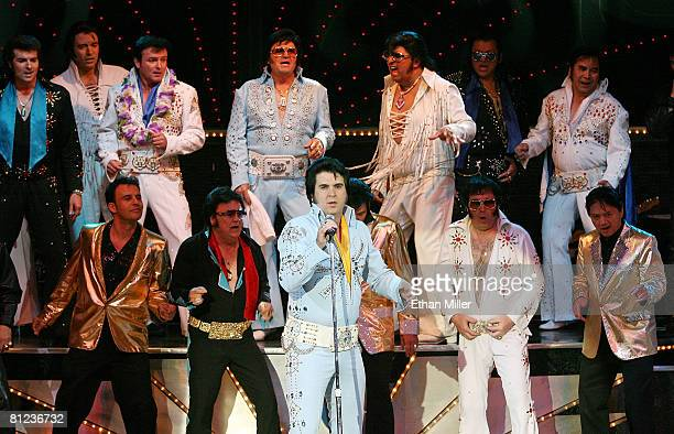 Elvis Presley impersonators perform at the 17th annual Reel Awards at the Imperial Palace Hotel and Casino May 25 2008 in Las Vegas Nevada The show...