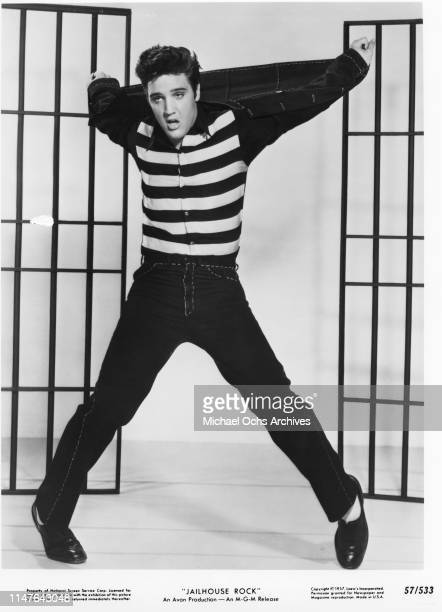 Elvis Presley in a scene from the movie Jailhouse Rock which was released in 1957