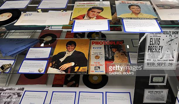 Elvis Presley items are seen during the preview day of the 'Icons and Idols' and 'property from the life and career of Johnny Cash' auctions at...