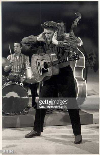 Elvis Presley making his first appearance on 'The Ed Sullivan Show,' broadcast September 9, 1956 from from Los Angeles, California.