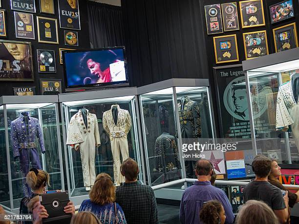 Elvis Presley memorabilia on display in the racquetball building in Graceland.