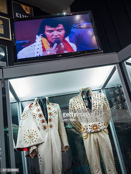 elvis presley memorabilia on display in the racquetball building in graceland. - graceland stock pictures, royalty-free photos & images