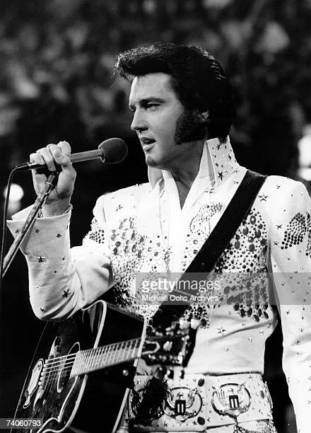 Elvis Presley performs onstage at the International Convention Center in Honolulu Hawaii on January 14 1973