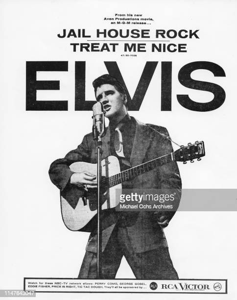 Elvis Presley plays a Martin acoustic guitar in a poster for the single of Jailhouse Rock which was released in combination with the film of the same...
