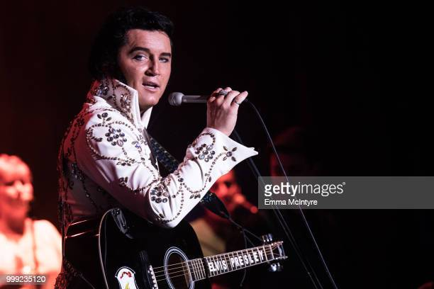 Elvis Presley tribute artist Ben Portsmouth performs onstage at the Las Vegas Elvis Festival at Sam's Town Hotel Gambling Hall on July 14 2018 in Las...