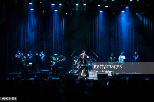 Elvis Presley tribute artist Diogo Light performs onstage at the Las Vegas Elvis Festival at Sam's Town Hotel Gambling Hall on July 14 2018 in Las...