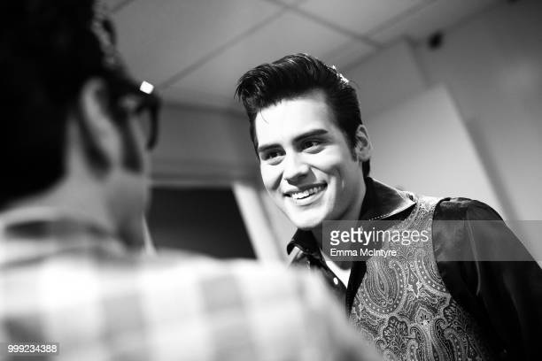 Elvis Presley tribute artist Taylor Rodriguez attends the Las Vegas Elvis Festival at Sam's Town Hotel Gambling Hall on July 14 2018 in Las Vegas...
