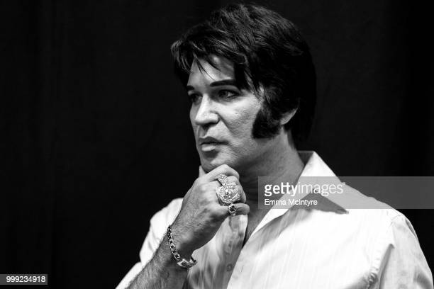 Elvis Presley tribute artist Ted Torres attends the Las Vegas Elvis Festival at Sam's Town Hotel Gambling Hall on July 14 2018 in Las Vegas Nevada