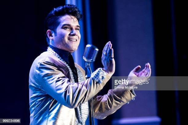 Elvis Presley tribute artist Victor Trevino Jr performs onstage at the Las Vegas Elvis Festival at Sam's Town Hotel Gambling Hall on July 14 2018 in...