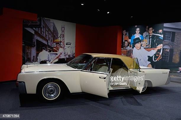 Elvis Presley's 1962 Lincoln Continental is displayed at Graceland Presents ELVIS The Exhibition The Show The Experience at the Westgate Las Vegas...