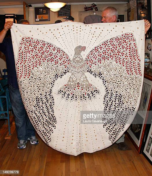 Elvis Presley's cape displayed at a press preview for the Gotta Have Rock and Roll online auction at the Gotta Have It store on July 25 2012 in New...