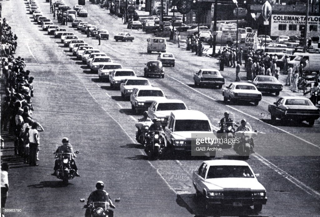 Elvis Presley's funeral cortege in Memphis, Tennessee on August 18 1977