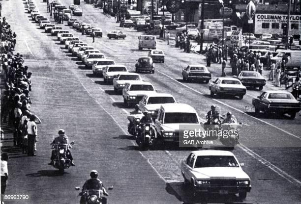 Elvis Presley's funeral cortege in Memphis Tennessee on August 18 1977