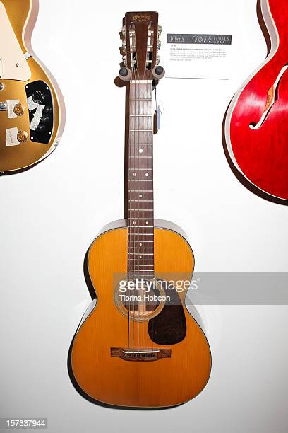 Elvis Presley's guitar on display at the Icons Idols Rock N Roll Auction Event at Julien's Auctions Gallery on December 1 2012 in Beverly Hills...