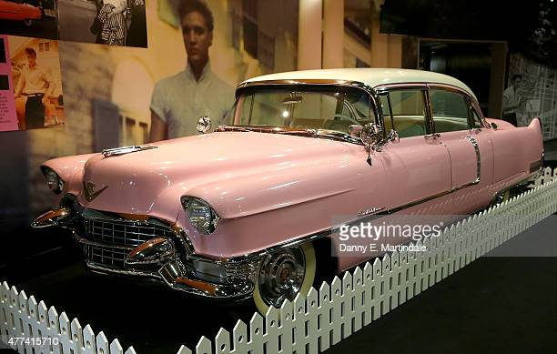 Elvis Presley's pink cadillac is added to the Elvis exhibition at The O2 Arena on June 17 2015 in London England
