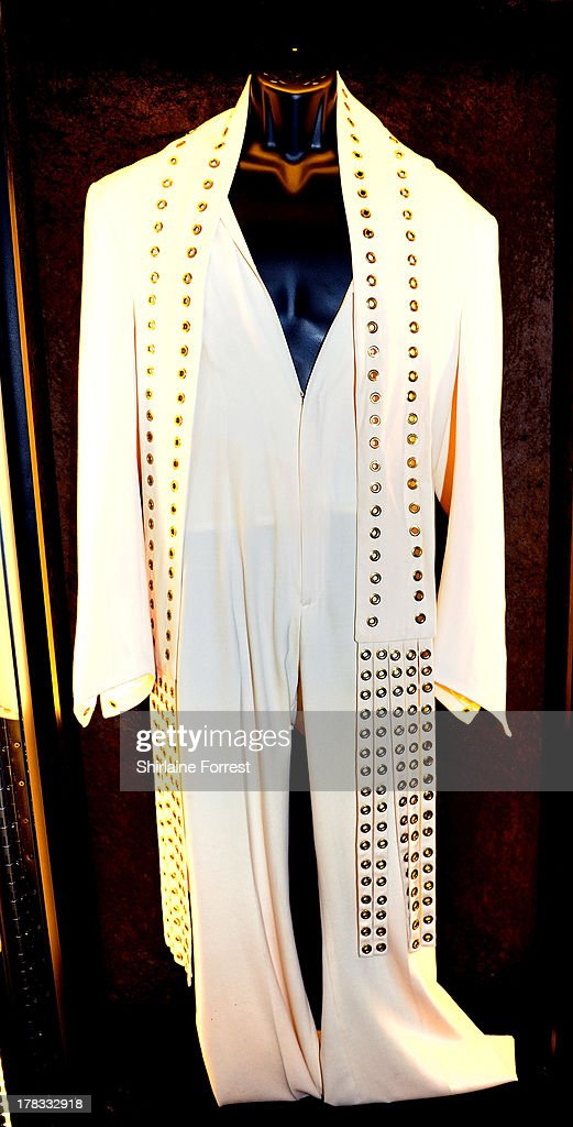 Elvis Presley's suit is displayed as part of Hard Rock Cafe's Hard Rock Couture exhibition on August 29, 2013 in Manchester, England.