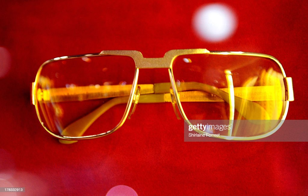 Elvis Presley's sunglasses are displayed as part of Hard Rock Cafe's Hard Rock Couture exhibition on August 29, 2013 in Manchester, England.
