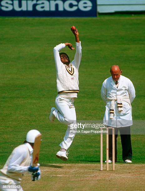 Elvis Reifer bowling for Hampshire during the Britannic Assurance County Championship match between Sussex and Hampshire at Hove 23rd May 1984 The...