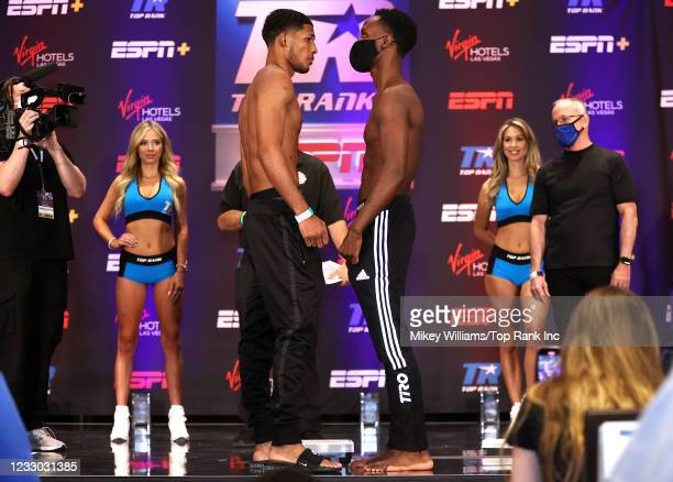 Elvis Rodriguez and Kenneth Sims Jr face-off during the weigh-in at Virgin Hotels Las Vegas on May 21, 2021 in Las Vegas, Nevada.