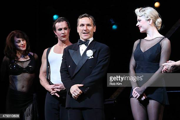 """Elvis Stojko and cast members at curtain call during Elvis Stojko's debut performance on Broadway's """"Chicago"""" at Ambassador Theatre on March 17, 2014..."""
