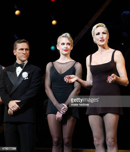 Elvis Stojko, Anne Horak and Amra-Faye Wright at curtain call during Elvis Stojko's debut performance on Broadway's 'Chicago' at Ambassador Theatre...