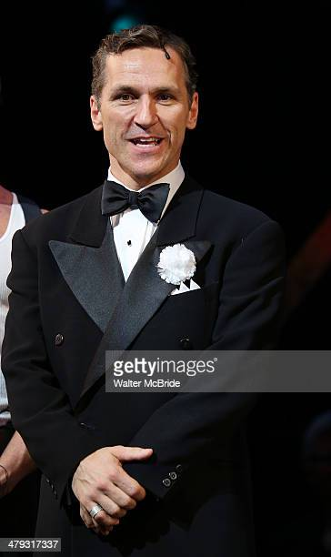 Elvis Stojko at curtain call during Elvis Stojko's debut performance on Broadway's 'Chicago' at Ambassador Theatre on March 17, 2014 in New York City.
