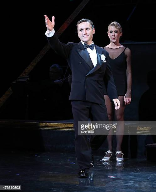 """Elvis Stojko at curtain call during his debut performance on Broadway's """"Chicago"""" at Ambassador Theatre on March 17, 2014 in New York City."""