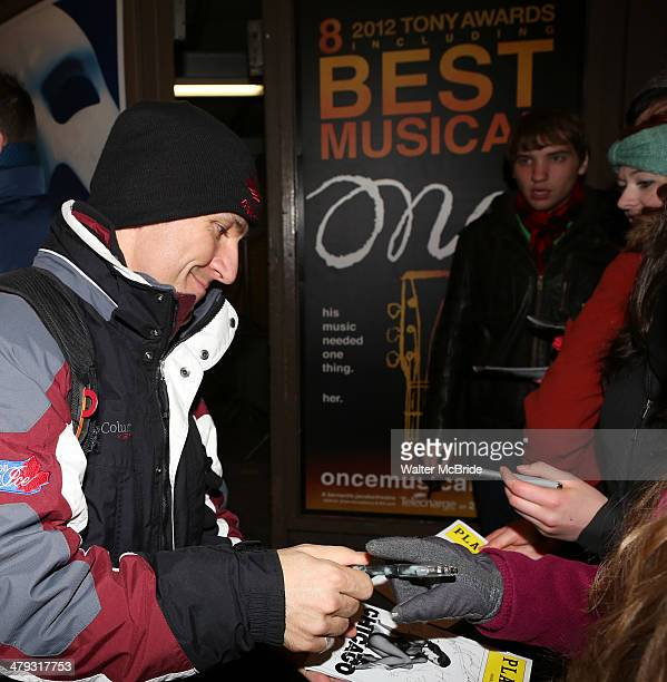 """Elvis Stojko greeting fans at the stage door after he makes his debut performance on Broadway in """"Chicago"""" at Ambassador Theatre on March 17, 2014 in..."""