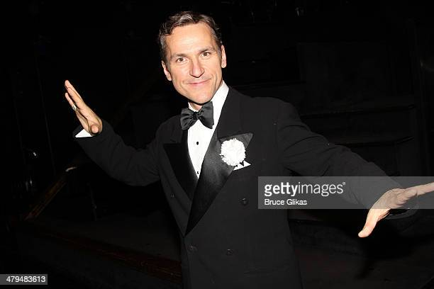 """Elvis Stojko poses backstage at """"Chicago"""" on Broadway at The Ambassador Theater on March 18, 2014 in New York City."""