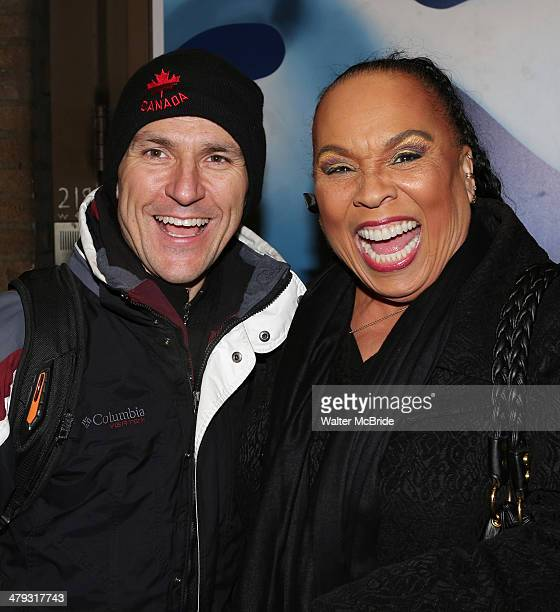 """Elvis Stojko with Roz Ryan greeting fans at the stage door after he makes his debut performance on Broadway in """"Chicago"""" at Ambassador Theatre on..."""
