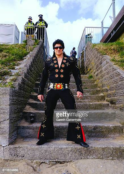 Elvis tribute artist Riccardo Vegas relaxes between performances during 'The Elvies' on September 25, 2016 in Porthcawl, Wales. 'The Elvies' is an...