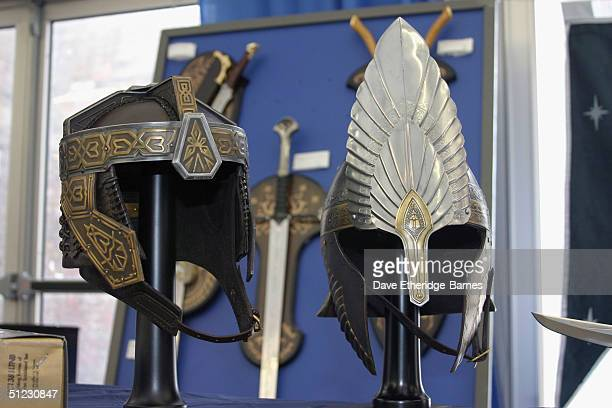 Elvish and Dwarvish armoury is seen on display at The Fellowship Festival 2004 aimed at J R R Tolkien fans at Alexandra Palace on August 28 2004 in...