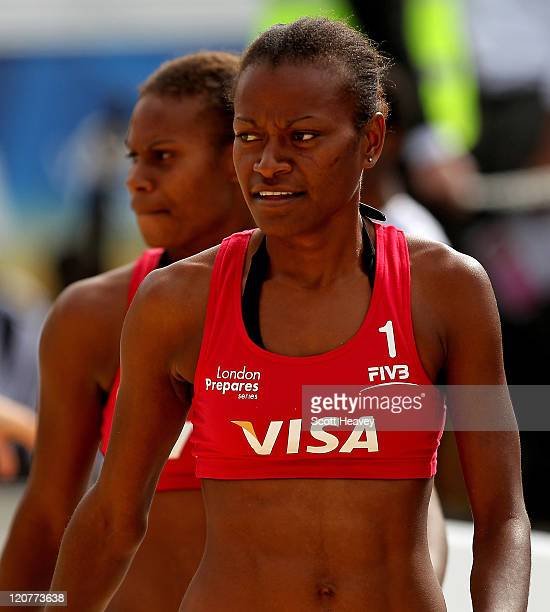 Elwin Miller and Linline Matauatu of Vanuatu prior to their Preliminary Phase Pool B match against Holland during the VISA FIVB Beach Volleyball...