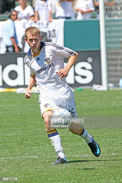 Ely Allen of the Los Angeles Galaxy moves the ball up the field during their MLS game against Toronto FC at the Home Depot Center on April 13 2008 in...