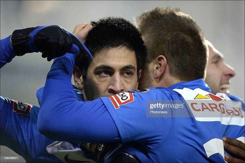 Elyaniv Barda of KRC Genk celebrates scoring a goal with teammate Benji De Ceulaer of KRC Genk during the Cofidis Cup 1/4 final away match between SV Zulte Waregem and KRC Genk in the Regenboog stadium on December 13, 2012 in Waregem, Belgium.