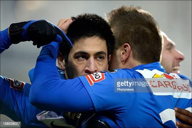 Elyaniv Barda of KRC Genk celebrates scoring a goal with teammate Benji De Ceulaer of KRC Genk during the Cofidis Cup 1/4 final away match between SV...