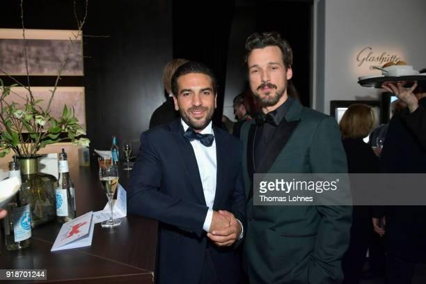 Elyas M'Barek and Florian David Fitz attend the Glashuette Original Lounge at The 68th Berlinale International Film Festival at Grand Hyatt Hotel on...